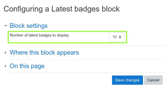 Configure latest badges block