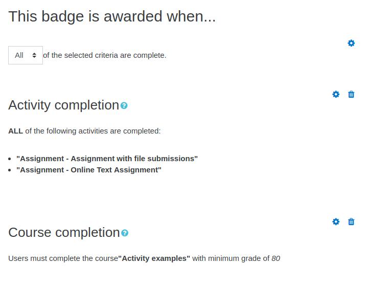 Badges criteria