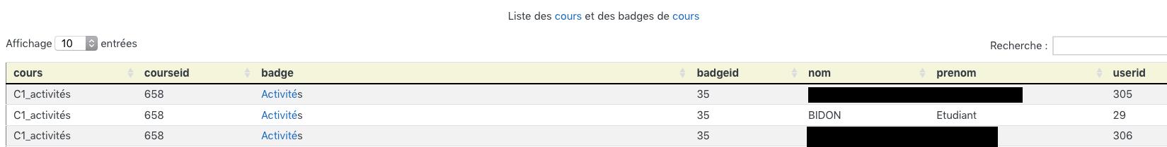 badges de cours