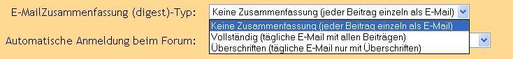 E-Mail Zusammenfassung im Userprofil